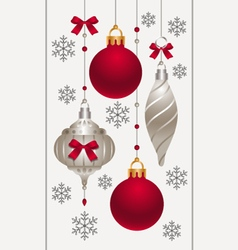 Christmas baubles with red bows vector