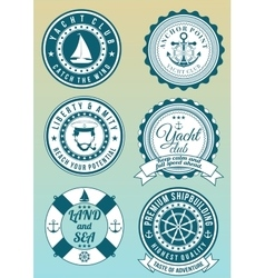 Set of colored round badges for sea and yacht club vector