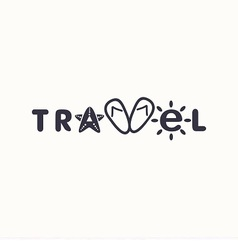 Logo with word travel vector