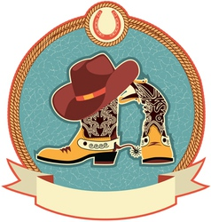 Cowboy boots and hat label vector