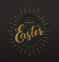 Easter greeting card - glitter gold type design vector