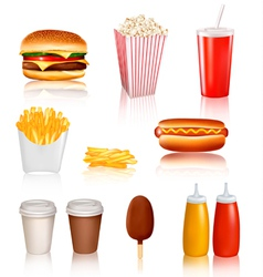 mega set of fastfood vector image