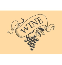 Vintage wine label grape isolated vector