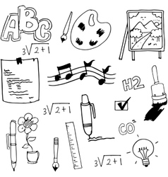 Hand draw flat school doodles vector