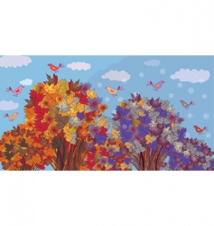 autumn becomes winter vector image