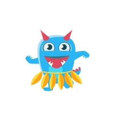 Blue monster with horns and spiky tail dancing vector