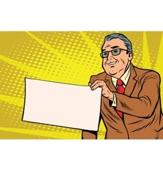 Boss businessman with a blank sheet of paper vector image vector image