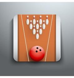 Bowling pins and ball icon symbol vector image