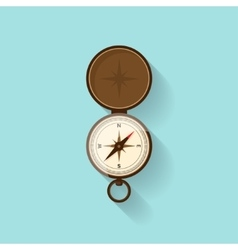 Compass in a flat style Travelhiking camping or vector image vector image