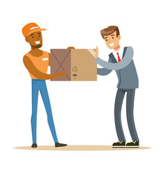 delivery service worker bringing box to office vector image vector image