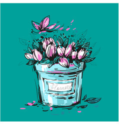 Fancy bouquet of tulips in a bucket for you design vector
