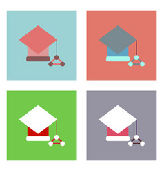 flat icon design collection molecules square vector image vector image