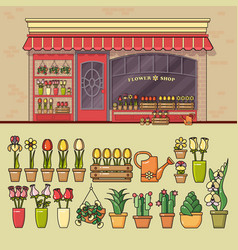 Flower shop and set of cute various flower icons vector