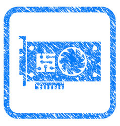 Gpu accelerator card framed stamp vector