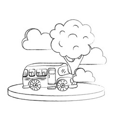 grunge school bus in the city with clouds and tree vector image vector image