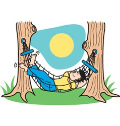 Guy in hammock vector image vector image