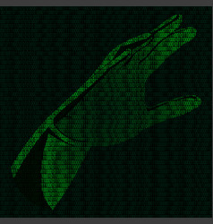 hand of binary code vector image vector image