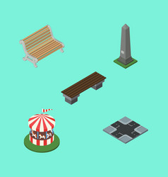 Isometric architecture set of carousel bench vector