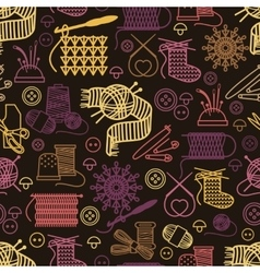 Knitting and needlework seamless pattern vector