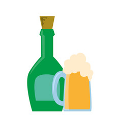 Liquor bottle and foamy beer glass vector
