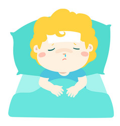Little sick boy in bed cartoon vector