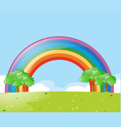 nature scene with rainbow at daytime vector image vector image