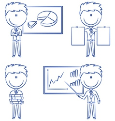 Office worker with diagrams vector image vector image