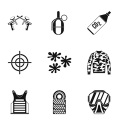 Paintball icons set simple style vector image