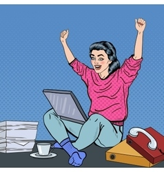 Pop Art Woman with Laptop Sitting at the Office vector image
