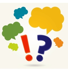 question and exclamation marks with speech bubbles vector image vector image