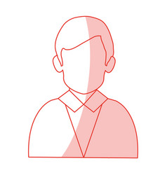red silhouette shading half body faceless man with vector image vector image