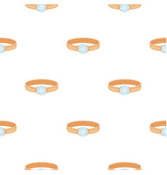Ring with diamond icon in cartoon style isolated vector