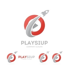 Rocket and play button logo combination vector
