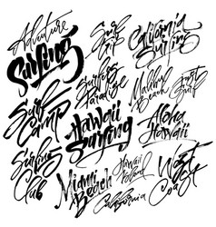 set of surfing modern calligraphy hand lettering vector image