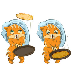Shrovetide russian holiday cat cook fries vector