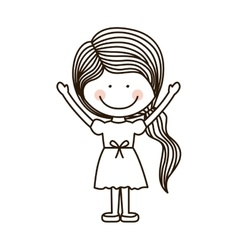 silhouette girl with open arms and ponytail vector image