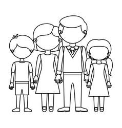 Sketch silhouette faceless family group taken vector