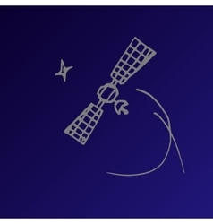 Space satellite sketch vector