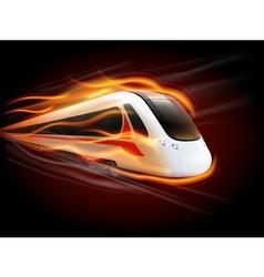 Speed train fire black background design vector