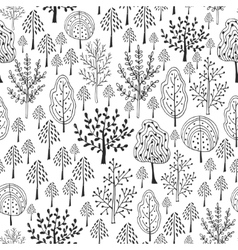 Trees pattern doodle seamless pattern with vector