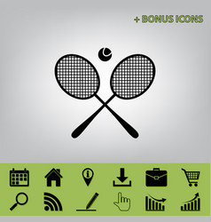 Two tennis racket with ball sign black vector