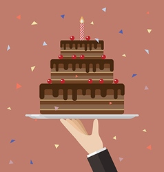 Waiter serving a chocolate cake vector