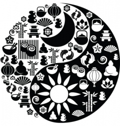 Ying Yang symbols vector image vector image