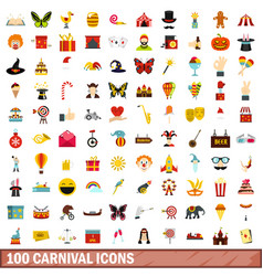 100 carnival icons set flat style vector image vector image
