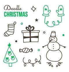 Doodle hand drawn winter christmas set vector image
