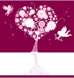 floral background with cupid vector image