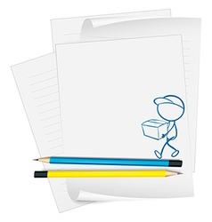 A paper with a sketch of a person holding a box vector image