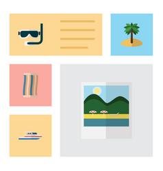 flat season set of boat coconut scuba diving and vector image