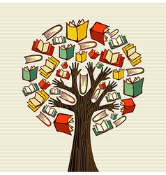 Concept design hand books tree vector