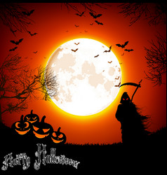 Halloween background with ghost and pumpkins on th vector